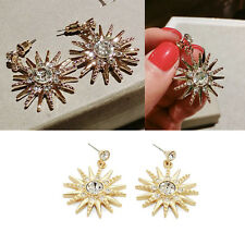 Women Lady Classic Star Shape Ear Stud Crystal Rhinestone Dangle Fashion Earring