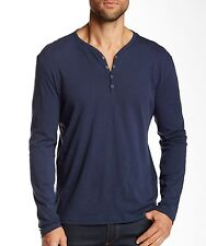 John Varvatos Star USA Men's Long Sleeve 4 Snap Henley Blue Cotton $118 msrp NWT