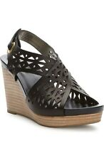 Me Too Women's Aubree Black Leather Wedge Sandal