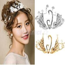 Charming Crystal Double Swan Pearls Wedding Bridal Headband Crown Tiara
