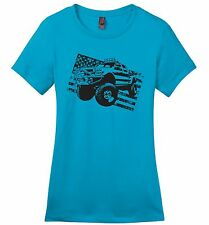 Truck Distressed American Flag Ladies T Shirt Partiotic July 4th USA Pride Z4