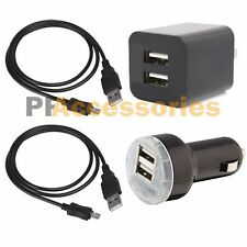 Dual USB Home Wall + Car Charger + 2 Sync Data Micro USB Cable for Android Phone