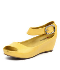 New I Love Billy Tindol Yellow Texture Women Shoes Wedges Heels Platforms