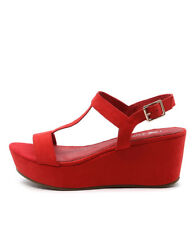 New I Love Billy Grace Red Women Shoes Casuals Sandals Wedges