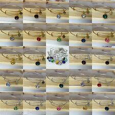 Crystal 12 Month Birthstone Hear-Shaped Charm Expandable Wire Bangle Bracelet