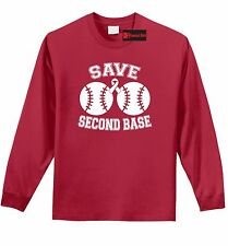 Save Second Base Cute Breast Cancer Awareness T Shirt Event Cause Boobies Tee Z1