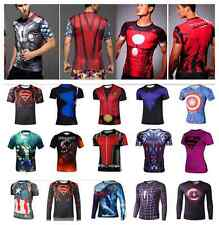 Superhero 3D Compression Cycling Tee T-shirts Short Long Sleeve Sport Men T top