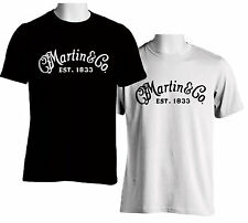 Black T-shirt Guitar CF Martin & Co Guitar Logo White Men's Tshirt S to 3XL