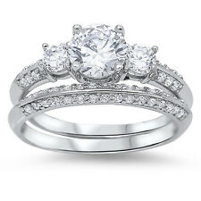 Women's 2.75CTW ROUND CUT 925 Sterling Silver Wedding Engagement Bridal Ring Set