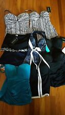 PROFILE BY GOTTEX Tankini Top Choice Black White Stripe Teal Skirt Bottoms 8, 14