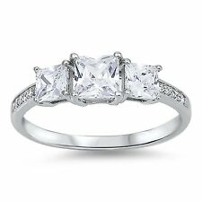 1ct Women's PRINCESS CUT CZ Sterling Silver Wedding Band 3 Stone Engagement Ring