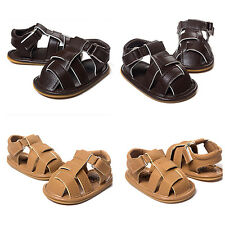 Summer Baby Boy Sandal Soft Sole Anti-Slip Crib Shoes PU Leather Prewalker Shoes