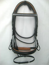 Snaffle leather bridle Black 2 row white diamonte straight browband Tan padding