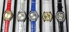 MANHATTAN Crystal Bezel Dial Faux Leather Band WOMEN Watch, In individual G.box