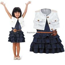 Fashion Baby Girl Kids Outfit Clothes Coat + Denim Dress 2 Piece Set with Belt
