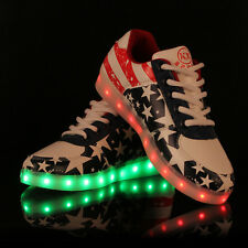 Hot LED Unisex Light Lace Up Luminous Shoes Sneaker Casual Stars Sports Shoes