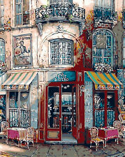 Paris Bar In The Morning Printed Tapestry Needlepoint Canvas 015