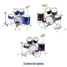 ammoon 5-Piece Complete Adult Drum Set Drums Kit with Cymbals Stands NEW B2D7