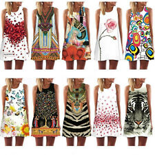 Summer Hot Women Vintage Sundress Sleeveless Bodycon Casual Cocktail Mini Dress