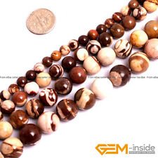 "Natural Brown Zebra Jasper Gemstone Round Loose Beads 15"" 6mm 8mm 10mm 12mm"