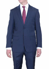 Mens Modern Fit Solid Heather Blue Two Button Super 140's Wool Suit