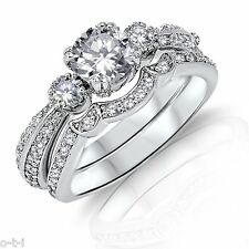 Brilliant Round Simulated Diamond Genuine Sterling Silver Engagement Ring Set