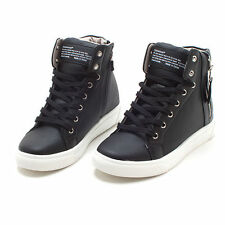 Women Faux Leather High Top Sneakers Tennis Shoes Ankle Boots Made in Korea