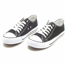 Womens Ladies Black Canvas Sneakers Athletic Shoes KOREA made US_7 8 9 10 11