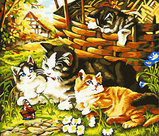 HandPainted Design Printed Needlepoint Tapestry Canvas Four Cats