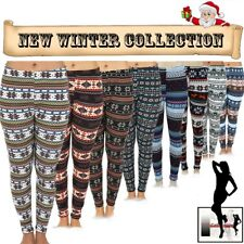 Women Warm Winter Knit Snowflake Nordic Leggings Xmas Tight Fleece Stretch Pants