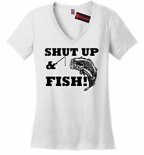 Shut Up & Fish Ladies V T Shirt Funny Country Song Tee Redneck Fishing Gift Z5