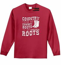 Country Cowboy Boots Home Roots L/S T Shirt Music Country Song Concert Tee Z1