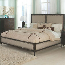 NEW SAVILLE FRENCH-INSPIRED DARK OAK FINISH WOOD FABRIC HEADBOARD QUEEN KING BED