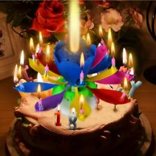 2 Amazing Music Candle Lotus Romantic Rotating Happy Birthday Party Candle Light