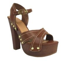 ELMA! Delicious Women's Peep Toe Studded Ankle Strap Platform Sandals