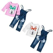 2PCS Baby Girls Kids Tops Minnie Mouse T-shirt+Pants Jeans Overalls Outfits Sets
