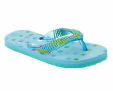 GIRLS BLUE BEADED TOE POST SUMMER HOLIDAY BEACH FLIP FLOP SANDALS UK SIZE 10-2