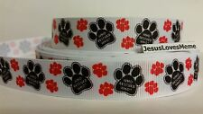 """Grosgrain Ribbon, Who Rescued Who? on Black Paw Print with Red Paw Prints, 7/8"""""""