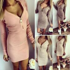 Sexy Women Casual Mini Dress Zip V Neck Long Sleeve Winter Bodycon Party Dress