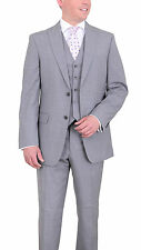 Tommy Hilfiger Trim Fit Gray Striped Three Piece Wool Suit With Peak Lapels