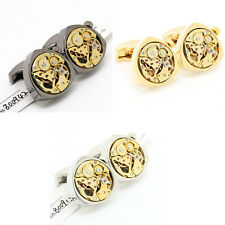 Watch Movement Cufflinks Mechanical Triangle Gold Cuff Links  Wedding Gift