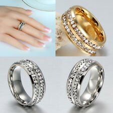 Fashion Double Row Crystal Stainless Steel Ring Wedding Band Ring Silver Gold ID