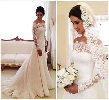 Long Sleeve Lace Wedding Dress Off Shoulder Garden Bride Gowns 2016 Bridal Dress