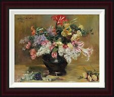 Amaryllis, Lilac and Tulips by Lovis Corinth Framed Painting Print