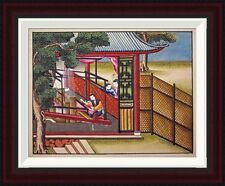 Global Gallery Weaving Silk On a Loom by Chinese School Framed Painting Print