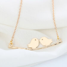 Silver Gold Plated Love Birds On Branch Necklace Small Pendant in Gift Bag/Box