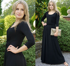 Long Black Evening Party Maxi Dress Round Neck 3/4 Sleeve By MontyQ UK