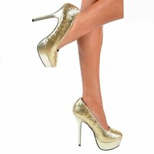 NEW WOMENS LADIES GLITTER PLATFORM COURT STILETTO PARTY HIGH HEELS SHOE SIZE3-8