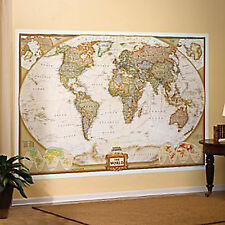 """World Mural Map by National Geographic 110"""" x 76"""" Classic or Executive"""