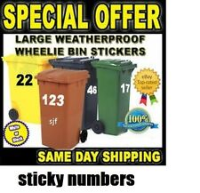 """Available In 7 Colours - 6"""" Wheelie Bin Numbers Stickers Self Adhesive Stick On"""